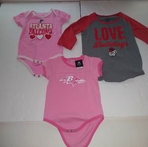 Lot of 3 Baby Shirts & One Piece Falcons, Bulldogs